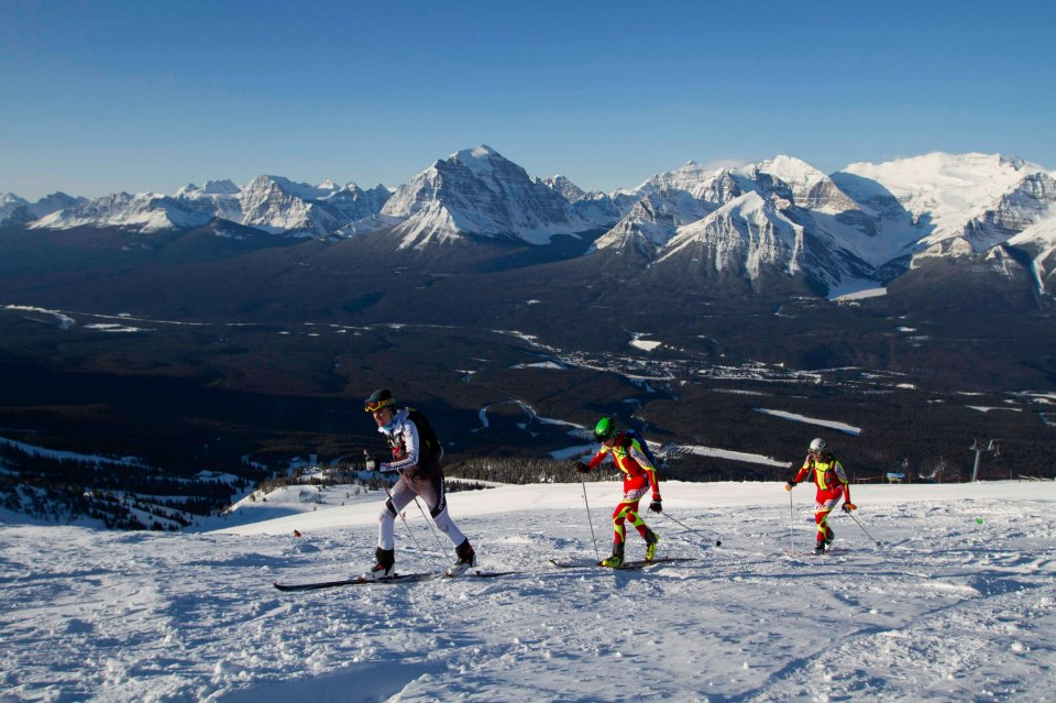Leading the race with Leki Cima Poles at Ken Jones Classic. Ski Lake Louise Photo.