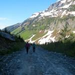 Adam and Nick Hiking down Roe Creek FSR.