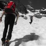 Brad and Nick hiking up towards the North Ridge