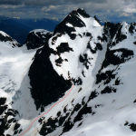 Tricouni Peak's North Ridge, our route in red.