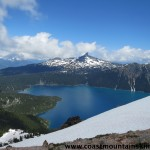 Looking back across Garibaldi Lake to Black Tusk. Still quite a bit of snow in the meadows.