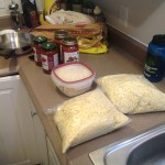 Prepping for our pasta party. I paid attention during all those high school XC parties mom!