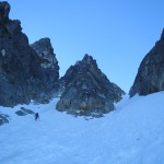 Approaching a small couloir on Mt Rethel.