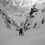 Brad booting up the North Couloir.