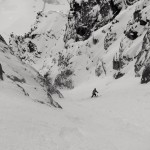 Brad skiing mid-way down the North Couloir.