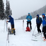 The Squamish crew taking a lunch on Blackcomb. Brad, Stano, Nick, and Gary.