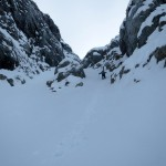 Brad approaching the choke in the couloir