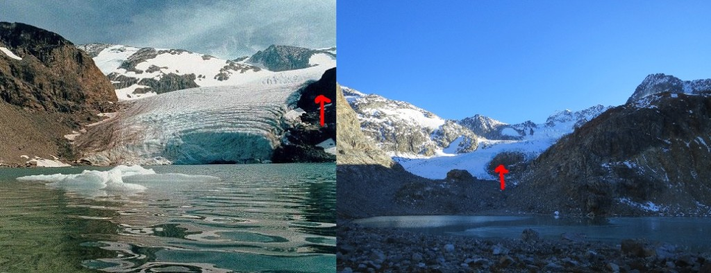 Wedgemount Glacier in Garibaldi Park has receded significantly. The left photo was taken in 1979 (by Paul Chicoine) and the right in 2013 by me. Both show the glacier in summer melt. The viewpoint and zoom is different but the difference is obvious. In the '70s, icebergs still calved off the glacier into Wedgemount Lake. In 2013, it is a 10 minute walk from the Glacier snout to the lake. Red arrows show the same rock outcrop for reference.