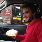 He couldn't hold back the smile when he got back into the car with breakfast.