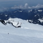 Skiing down the Coleman Glacier.