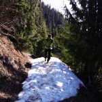 Nick jogging along the White River Trail to the snow line.