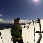 Taking a break on an acclimatization ski.