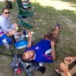 Support crew finally able to relax!
