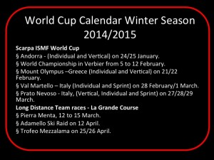 2015 World Cup Race Calendar