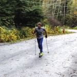 Rollerskiing intervals on the Britannia Mine Road during a rare, not rainy day.
