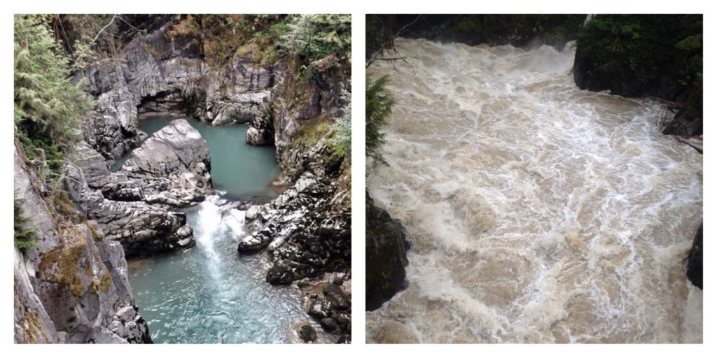 The weather in Squamish is brutal right now. Lots of rain. The pic on the left shows the Mamquam river in August. The right is yesterday, same vantage point, same zoom. Several meters higher!