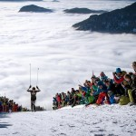 Killian Jornet skiing out of the clouds to become Vertical Champion of the World! (ISMF Photo)