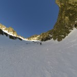 Martin in one of several icy couloirs.
