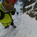 Halfway through a big day of training and some steep skiing.