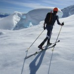 Skiing across the Rumbling Glacier halfway through the Tantalus Traverse FKT. Nick Elson Photo.