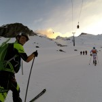 Pascal leading us out of Gressoney early in the morning.