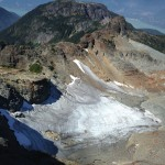 Sky Pilot Glacier from above. No more than 40deg but very slippery and covered with rocks and ice.