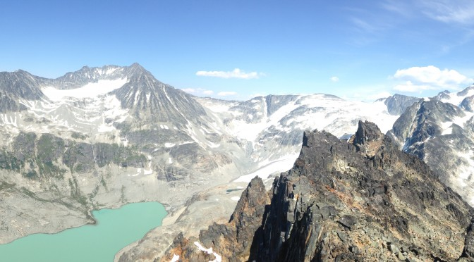All five peaks of the Wedgemount Traverse seen from the final peak (Rethel).