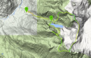 Map of the trip - my watch died on the descent trail.