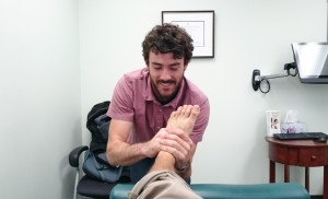 My overly tight posterior chain has led to tight calves, especially when I run uphill (like almost all of my training sessions). This has been manifesting as foot pain and the awesome Dr. Greenwood (Paul) has been helping release those muscles and free up the bones in my feet!