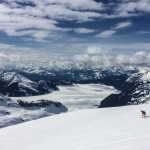 Very stoked to be skiing down Sphinx Glacier with Garibaldi Lake below.