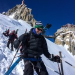 Will walking down the arete from the Aiguille du. Midi.