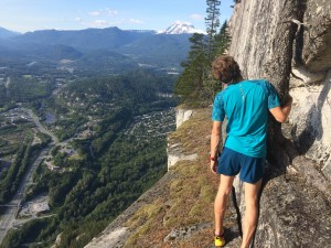 Exploring new trails - Nick debating continuing along the ledge...
