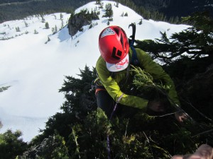 Climbing steep bush in the Sky Pilot group. I probably should have had my axe out! (Nick's Photo)