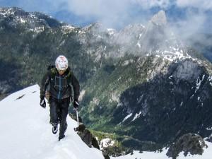Climbing the North Ridge of Sky Pilot. (Nick's Photo)