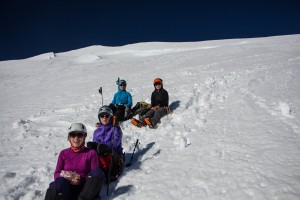Carl and the girls - Andrea, Kate, and Kyle - taking a break before the top.