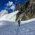Nick jogging down the Dione Glacier en route to the Haberl Hut.