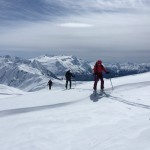 Skinning near the top of the Garibaldi Neve.