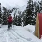 Andrea exploring the new Watersprite Lake Hut.