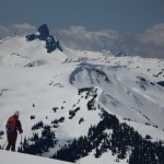 Andrea getting a nice view of Black Tusk after bailing on the Spearhead.