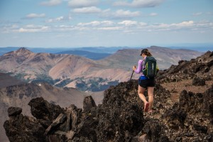 Andrea scrambling on Relay Peak.
