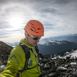 Running along Blackcomb Peak after one last climb of Blackcomb Buttress for the season.
