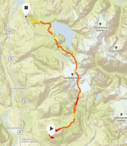 Map of our route over the Garibaldi Neve Traverse in September, 2018.