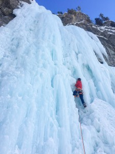 Feeling decent on Carlsberg Column while snaking my way up the ice chimney.